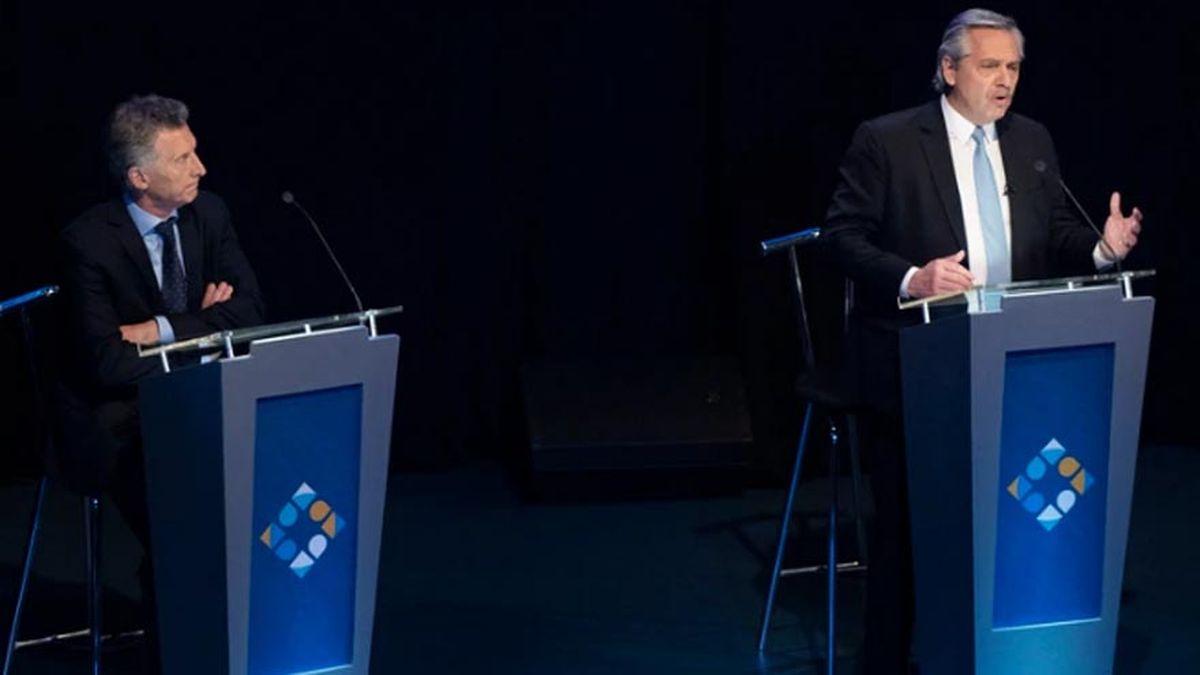 Alberto Fernández y Mauricio Macri en el Debate Presidencial