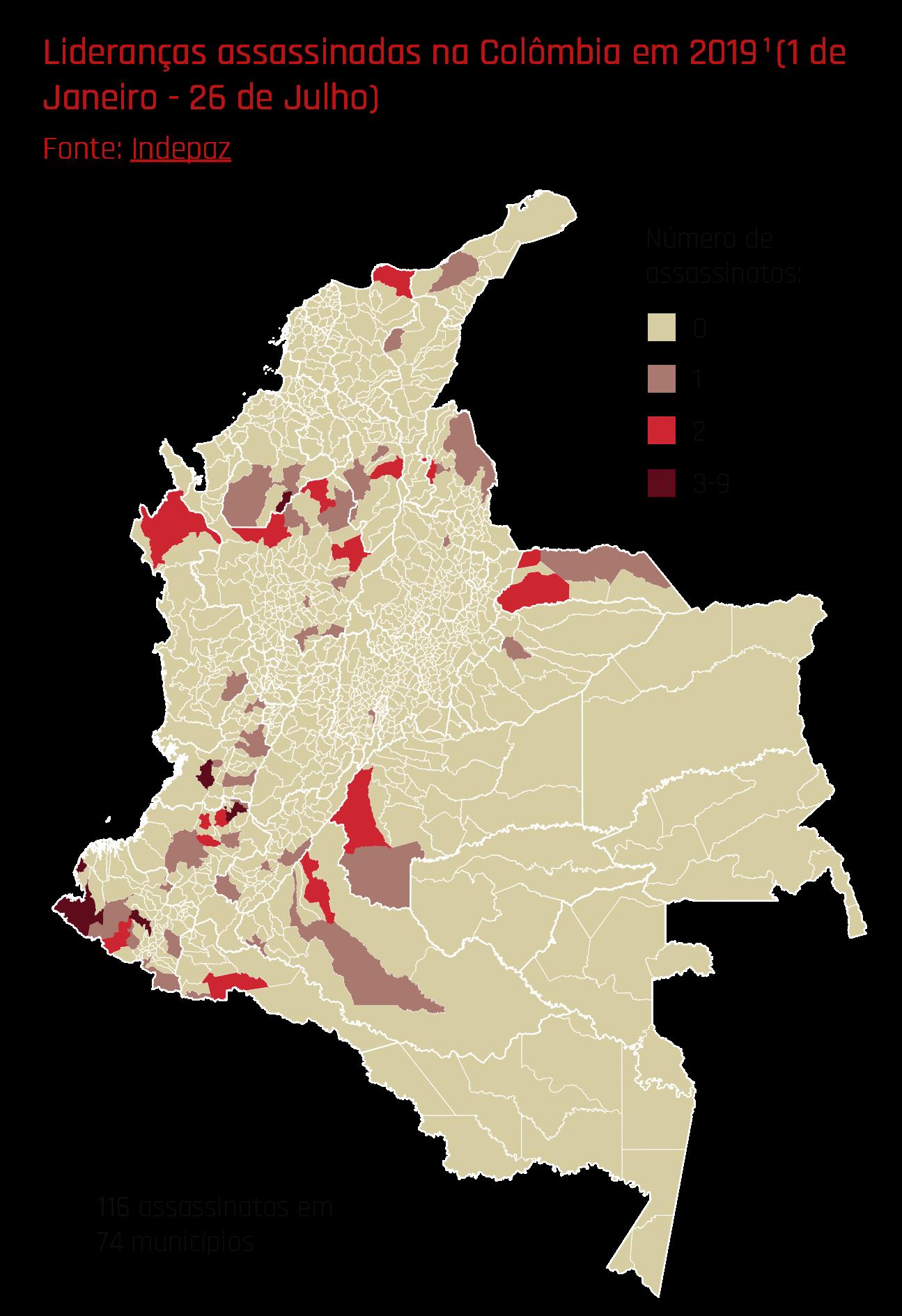 Lideranças assassinadas na Colômbia em 2019