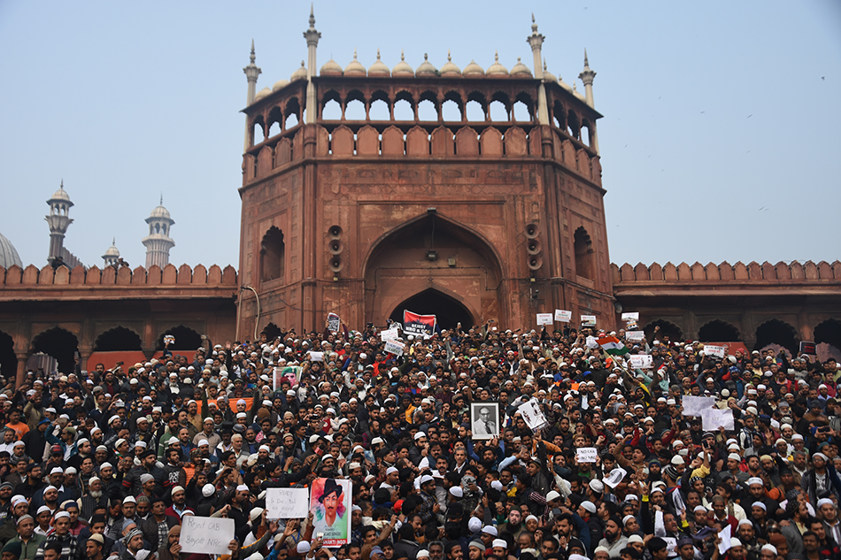 Protestors gather at Jama Masjid