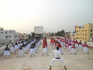 Students of the Dr. P. V. Ramachandra Reddy People's Polyclinic (PPC) Nursing College undergoing karate training. Photo credit: Nellore People's Polyclinic.