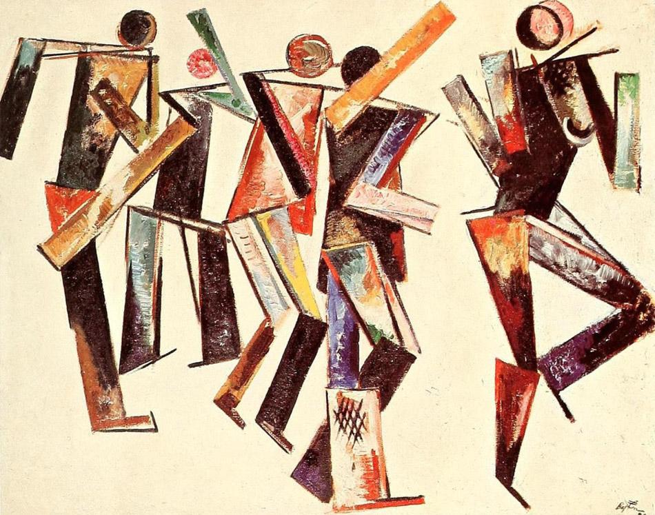 Varvara Stepanova, Five Figures on a White Background, 1920