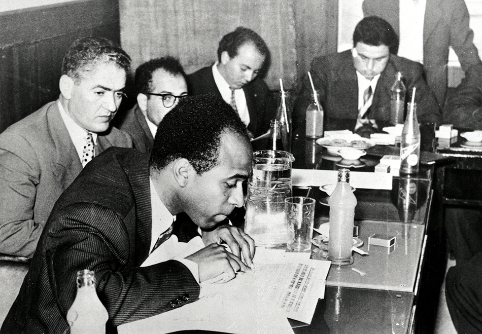Frantz Fanon at a press conference of writers in Tunis