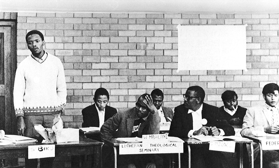 Stephen Biko (standing) at the 1971 conference of the South African Students' Organisation