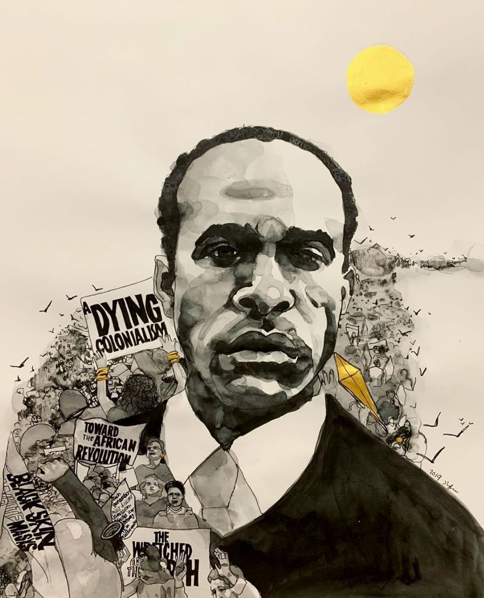 Suhad Khatib, Frantz Fanon, ink on paper, 18x24, 2019.
