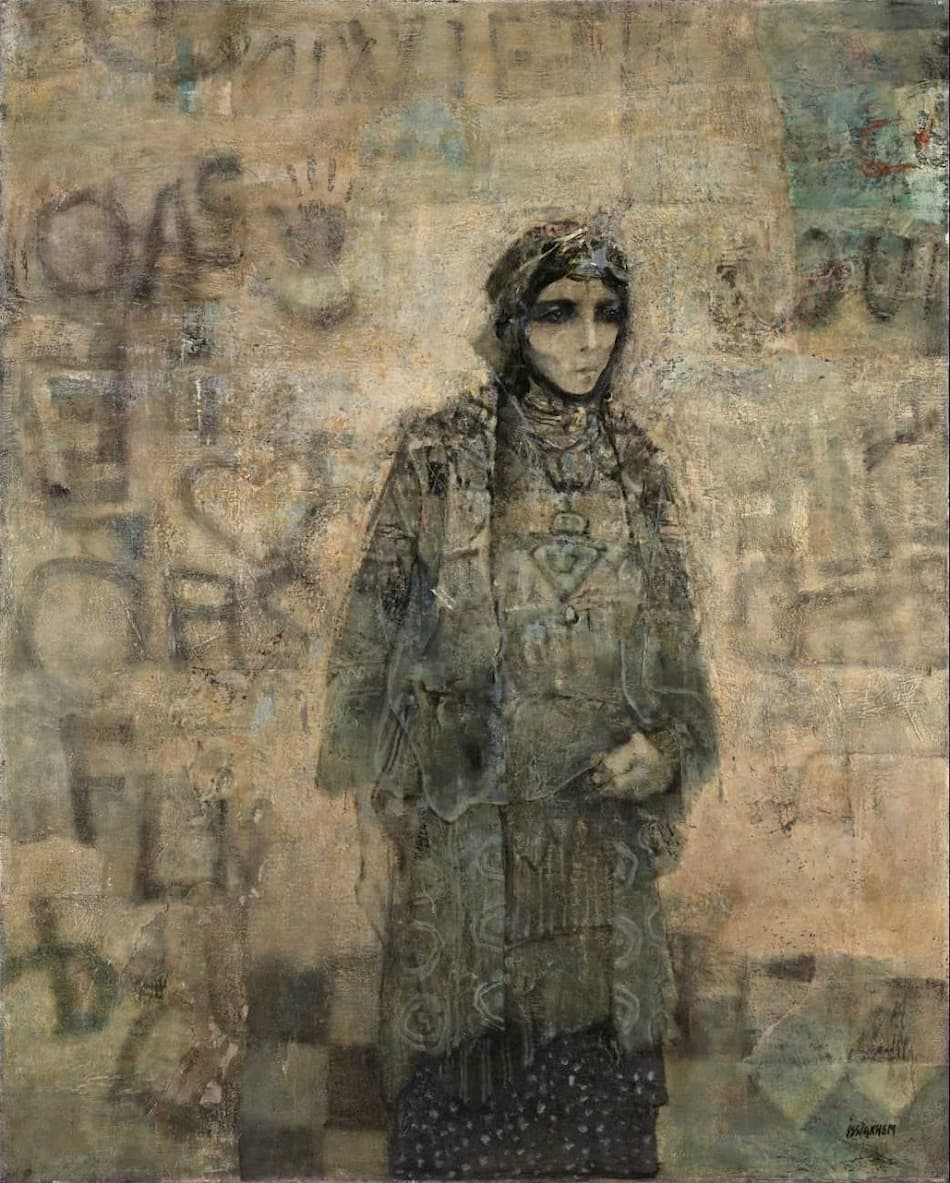 Mohammed Issiakhem, Femme et Mur (Woman and Wall), 1970.