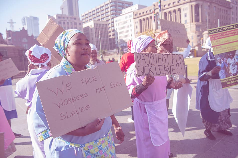 Domestic workers gather at Church Square in Pretoria, South Africa