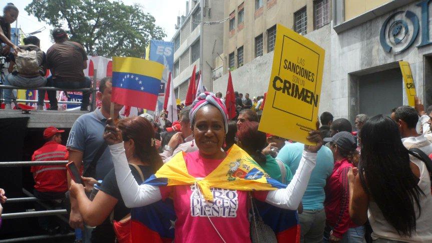 Sanctions are a crime, Caracas, Venezuela, 2020.