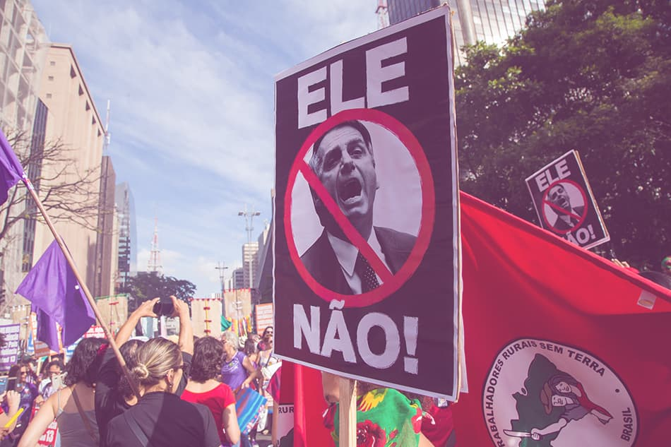 Across Brazil, hundreds of millions of women, militants, and social movements say #EleNão