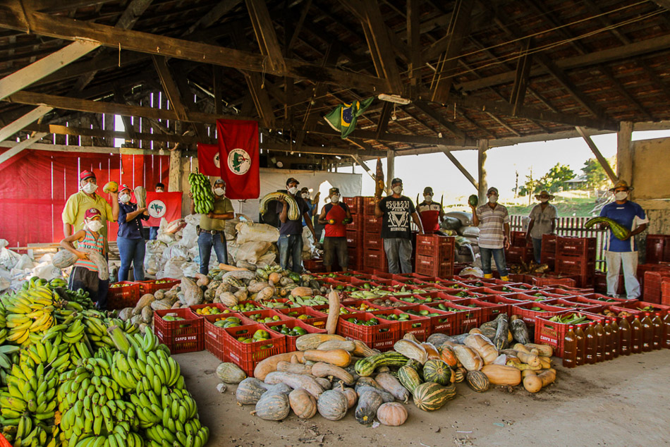 The Landless Workers' Movement's (MST) main acts of solidarity are geared towards the distribution of food through various formats: food baskets, farmers' markets, and lunch boxes. Paraná, Brazil, April 2020.