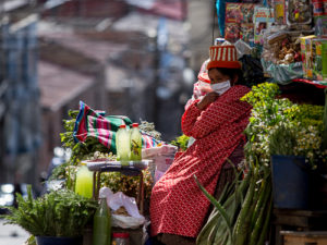 Herb and spice vendor working (despite the pandemic). Santa Cruz Street, La Paz, Bolivia, 2020.  Carlos Fiengo