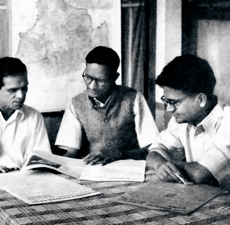 Caption: BT Ranadive, G Adhikari, and PC Joshi at a meeting of the Polit Bureau of the Communist Party of India at the CPI headquarters in Bombay, 1945. Credit: Sunil Janah / The Hindu Archives.