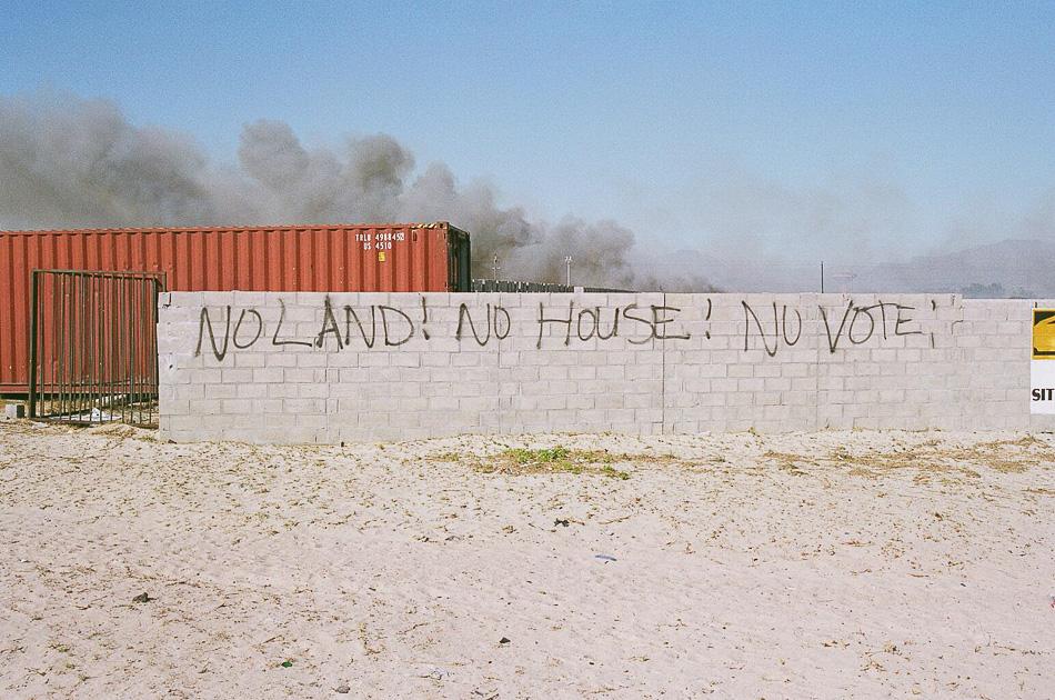 Political graffiti in Mandela Park, Khayelitsha, Cape Town, 2006. Credit: Toussaint Losier