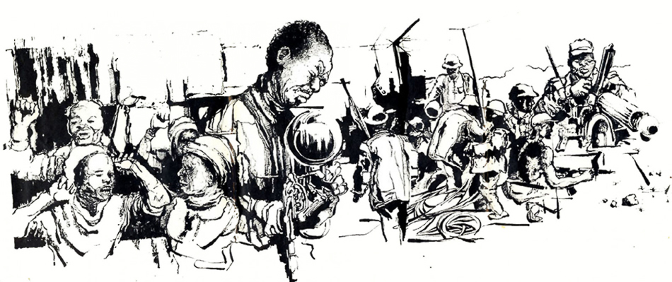 Thami Mnyele (South Africa), untitled, pen and ink, Gaborone, Botswana, 1984.