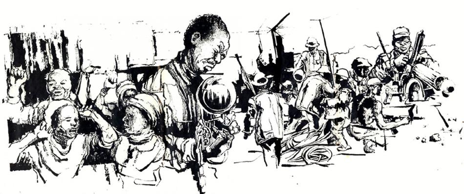 Thami Mnyele (South Africa), untitled, pen and ink, Gaborone, Botswana, 1984.