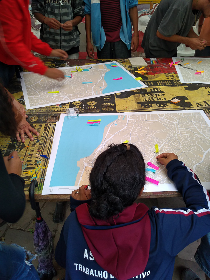 Youth mark points of reference in their neighborhood during collective mapping research. State of São Paulo, Brazil, 16 October 2019. Stella Parterniani / Tricontinental: Institute for Social Research