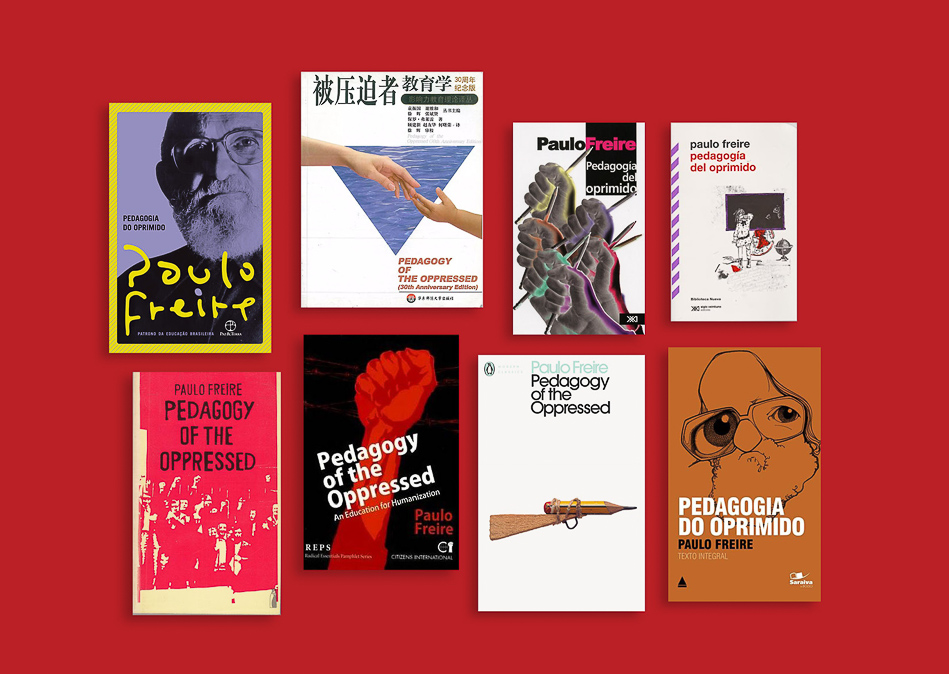 Book covers of Pedagogy of the Oppressed in different languages.