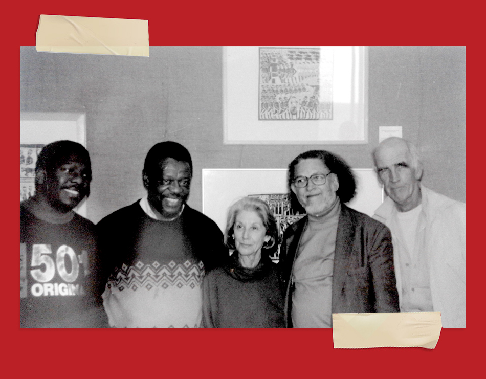 Mongane Wally Serote (second from left), Nadine Gordimer (centre), and Dennis Brutus (second from the right), courtesy of Amazwi South African Museum of Literature.