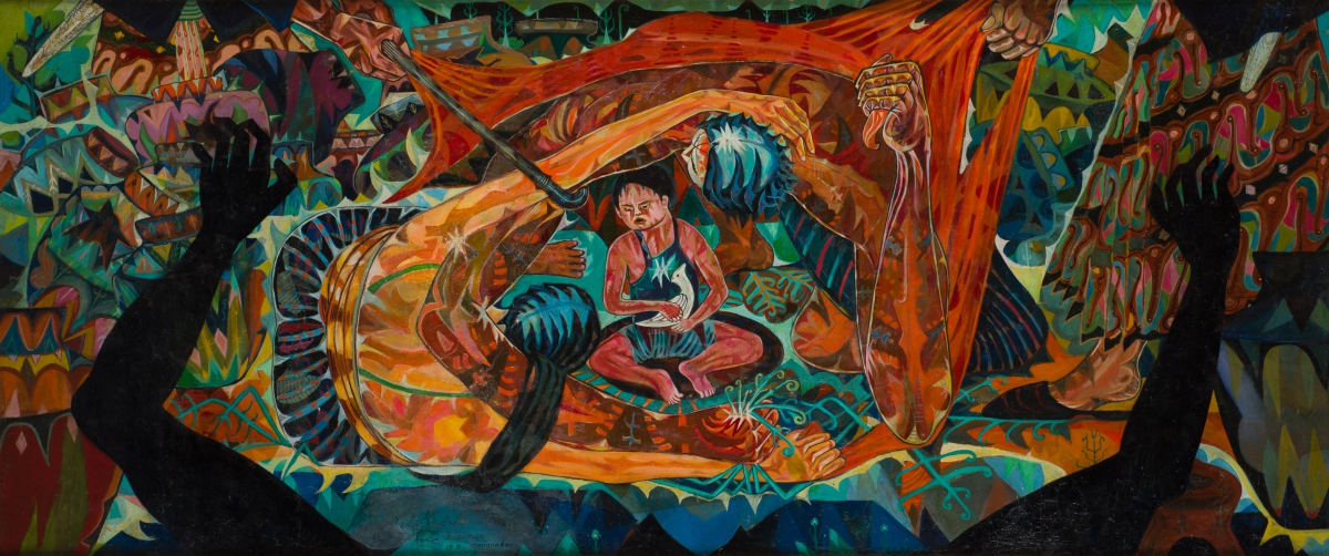 Amrus Natalsya, Mereka Yang Terusir Dari Tanahnya ('Those Chased Away from Their Land'), 1960, oil on canvas, 80 x 187 cm, Collection of National Gallery Singapore.