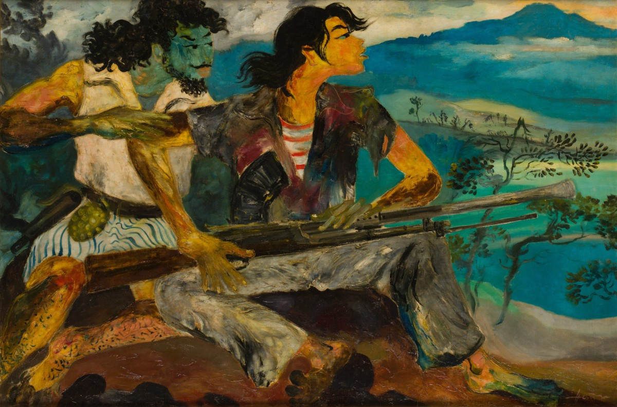 Hendra Gunawan, War and Peace, c. 1950s, oil on canvas, 93.7 x 140.3 cm, Collection of National Gallery Singapore.