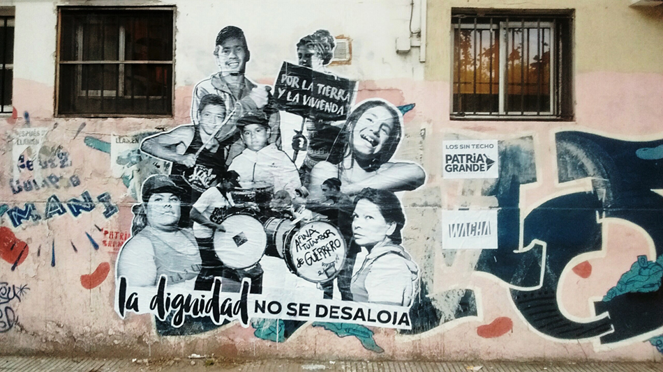 'Dignity is not evicted', an intervention that took place during the March of the Unhoused,15 January 2017. Mar del Plata, Argentina. Colectivo Wacha.
