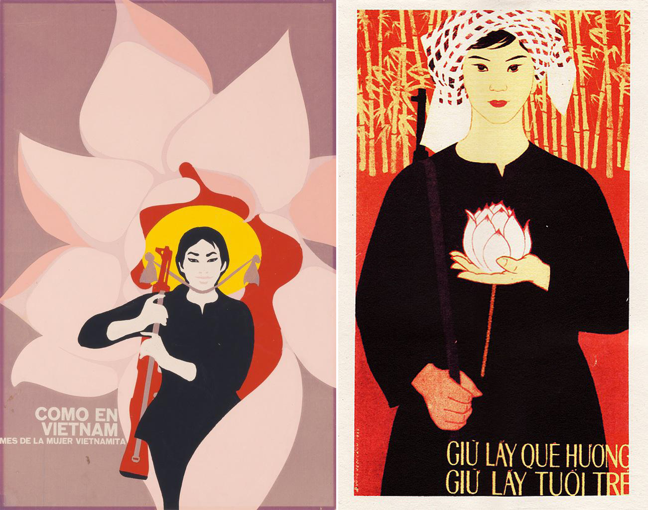 René Mederos (Cuba), Como en Viet Nam, Mes de la Mujer Vietnamita ('Like in Vietnam, Month of the Vietnamese Woman'), 1970; Save the Country, Save the Youth (Vietnam), no date.